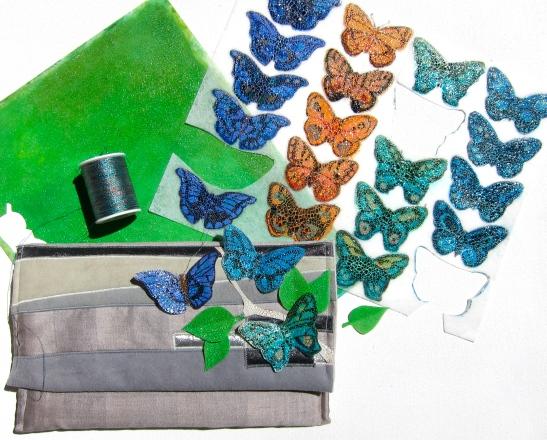 butterflies on lutradur mixed media fabric